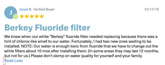 berkey fluoride filter testimonials
